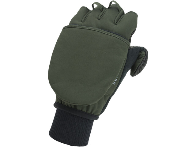 Sealskinz Windproof Cold Weather Convertible Mitt Guanti, verde oliva/grigio